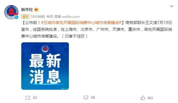 上海等五市建设国际消费中心城市-1