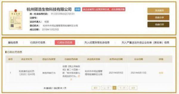 杭州驿浩生物科技有限公司涉嫌传销被罚50万元-1