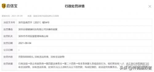 深圳谷缇健康科技有限公司涉嫌传销被处罚50万元-1